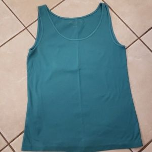 Eddie Bauer teal ribbed tank top size L